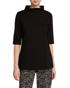 Neiman Marcus Funnel-Neck Elbow-Sleeve Ponte Tunic