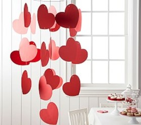 Pottery Barn Red Paper Heart Mobile