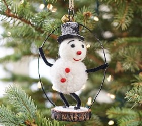 Pottery Barn Snowman Felted Wool Ornament
