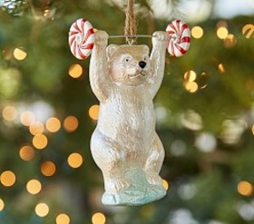 Pottery Barn Mercury Polar Bear Weight Lifter Orna