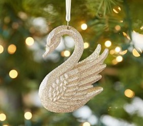 Pottery Barn Monique Lhuillier Glitter Swan Orname
