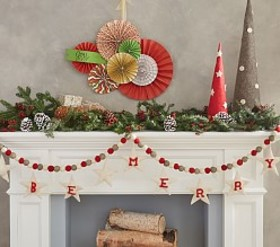Pottery Barn Be Merry Felted Wool Garland