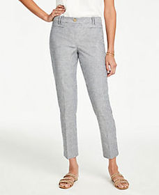 The Petite Cotton Crop Pant in Stripe - Curvy Fit