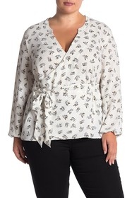 1.State Long Sleeve Wrap Blouse (Plus Size)