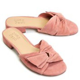 Womens Wide Width Suede Knot Comfort Mules