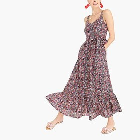 J. Crew Factory Printed tiered maxi dress in linen