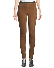 Neiman Marcus Leather Collection Suede Leggings w/