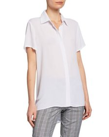 Neiman Marcus Crepe High Low Blouse