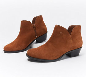 Vionic Suede or MetallicCutout Ankle Boots - Liv -