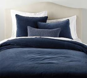 Pottery Barn Velvet Fringe Duvet & Shams - Midnigh