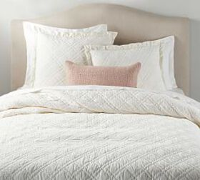 Pottery Barn Washed Velvet Silk Blend Quilt & Sham