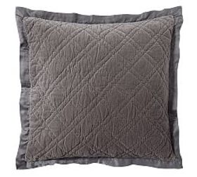 Pottery Barn Washed Velvet Silk Blend Quilted Sham