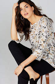 Floral Knit Raw-Edge Top