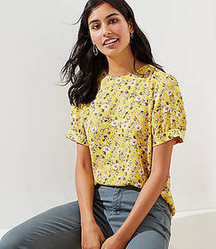 Floral Puff Sleeve Button Back Top