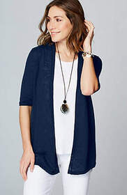 Linen & Cotton Open-Front Cardi