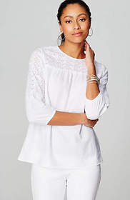 Embroidered-Eyelet Top