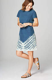 Pure Jill Indigo Knit Tie-Dyed Dress