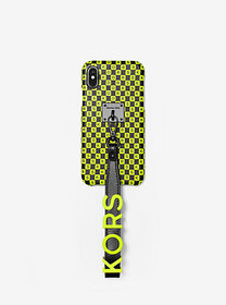 Michael Kors Neon Checkerboard Logo Leather Wristl