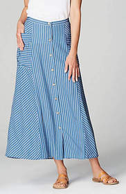 Striped Rayon Button-Front Skirt
