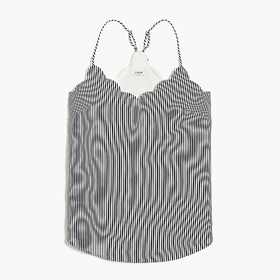 J. Crew Factory Striped scalloped cami top
