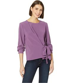 Vince Camuto Long Sleeve Side Tie French Crepe Blo