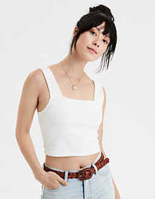 American Eagle AE Square Neck Cropped Tank Top