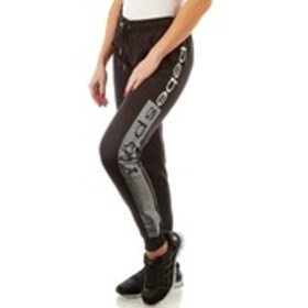BEBE SPORT Fleece Joggers with Foil Print Striped