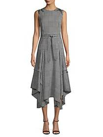 Calvin Klein Houndstooth Midi Dress BLACK WHITE