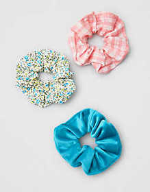 American Eagle AEO Blue Floral Scrunchies 3-Pack