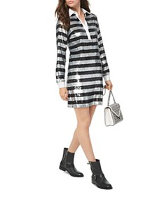 MICHAEL Michael Kors - Striped Sequined Shirt Dres