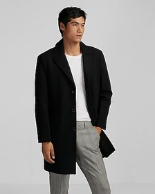 Express black recycled wool topcoat
