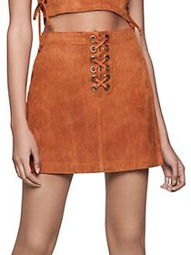 BCBGeneration Faux Suede Lace-Up Skirt SPICE