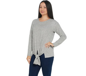 Vince Camuto Knot Front Long-Sleeve Rib Knit Top -