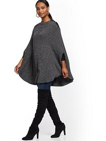 Faux-Leather Trim Marled Poncho - New York & Compa
