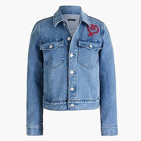 J. Crew Factory Embroidered denim jacket