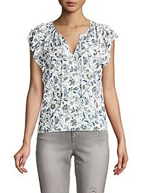 Lucky Brand Floral Split Neck Top NATURAL MULTI
