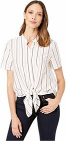 Vince Camuto Short Sleeve Button Down Tie Front Th