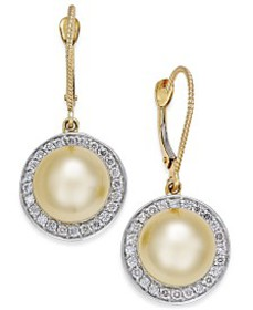 Cultured Golden South Sea Pearl (9mm) and Diamond