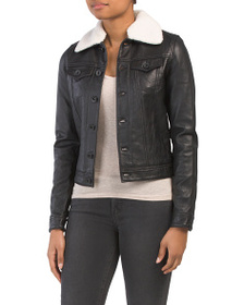 LINEA PELLE Faux Fur Collar Washed Leather Jacket