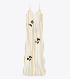 Tory Burch Embroidered Satin Slip Dress