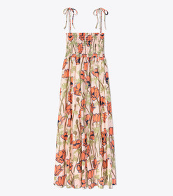 Tory Burch CONVERTIBLE SMOCKED PRINTED BEACH DRESS