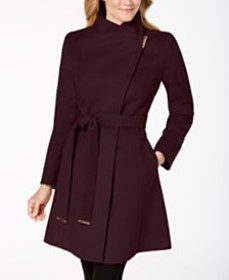 Michael Michael Kors Asymmetrical Belted Coat, Cre
