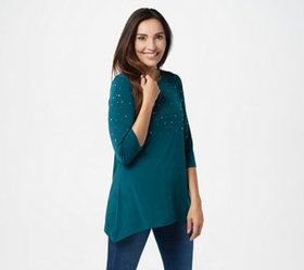 Quacker Factory 3/4-Sleeve Trapeze Hem Top with Rh