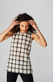 Plaid Cross-Back Top