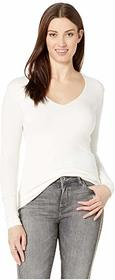 Three Dots Luxe Rib Long Sleeve V-Neck Top