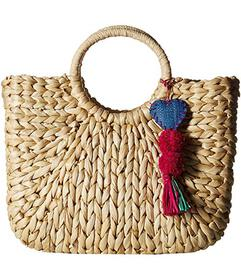 Hat Attack Small Round Handle Tote with Heart Pom