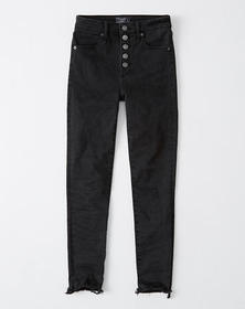 High Rise Ankle Jeans, BLACK WITH BUTTON FRONT