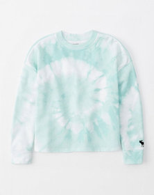 wash effect crew sweatshirt, light blue tie dye