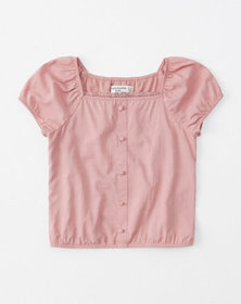 button-front top, pink