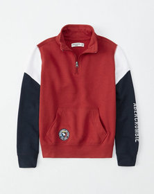colorblock half-zip sweatshirt, red